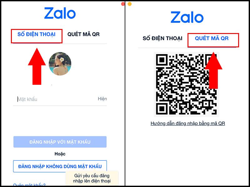 Đăng nhập vào Zalo bằng SỐ ĐIỆN THOẠI hoặc QUÉT MÃ QR