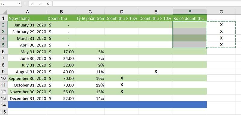 cat-dan-noi-dung-o-excel-2019-buoc-3 dải ô trong Excel 2019