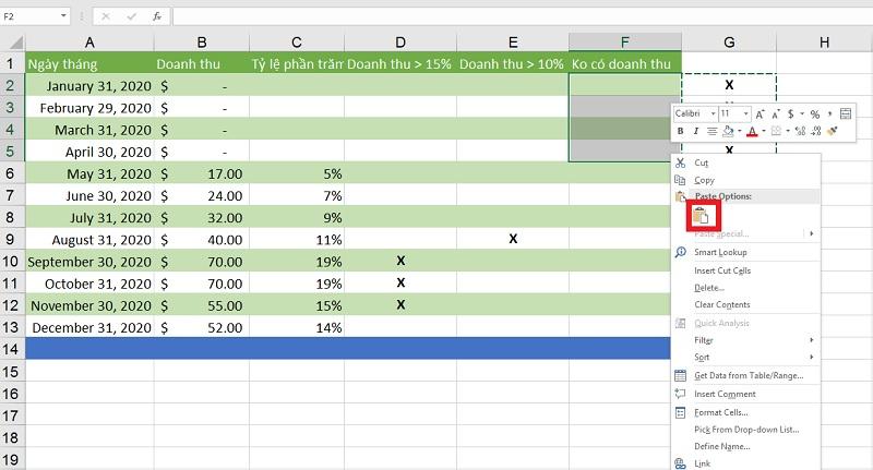 cat-dan-noi-dung-o-excel-2019-buoc-4 dải ô trong Excel 2019