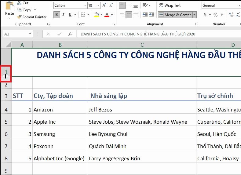 chinh-chieu-cao-hang-excel-2019-buoc-1Bài 06: Thay đổi kích thước cột, hàng và ô trong Excel 2019