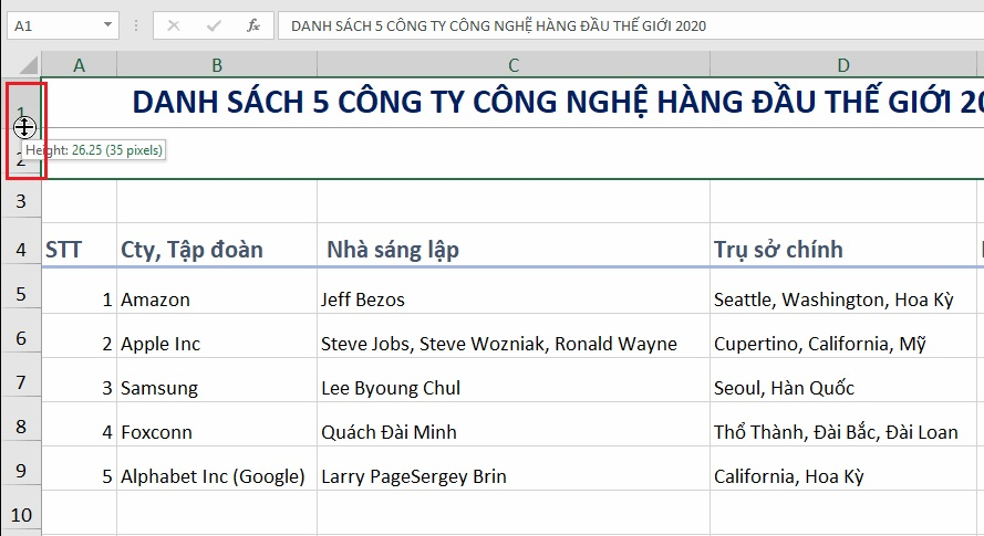 chinh-chieu-cao-hang-excel-2019-buoc-2