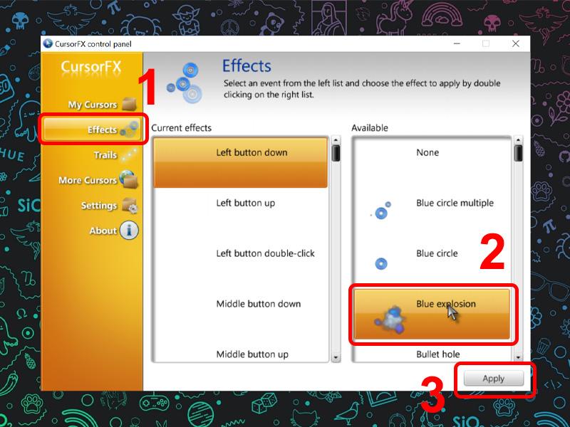 ùy chọn hiệu ứng mình muốn trong tab Effects