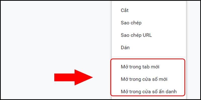 Thao tác mở dấu trang đã lưu trong tab hoặc cửa sổ mới