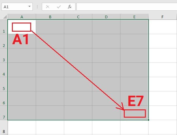 dai-o-a1-e7-trong-excel-2019 Bài 05: Tìm hiểu về ô và dải ô trong Excel 2019
