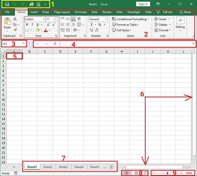 giao-dien-chinh-excel-2019 Bài 01: Làm quen với giao diện Excel 2019