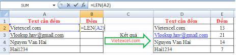 cách sử dụnghàm LENđể đếm số ký tự trong Excel