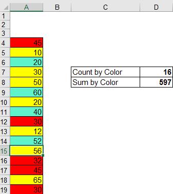 Cách tính tổng các ô cùng màu trong excel