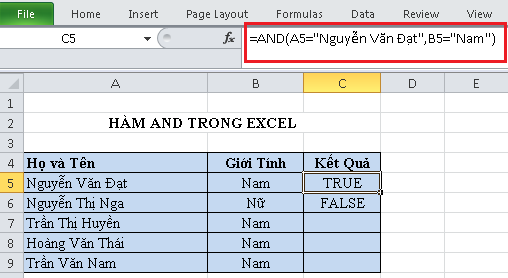 Hàm AND trong Excel