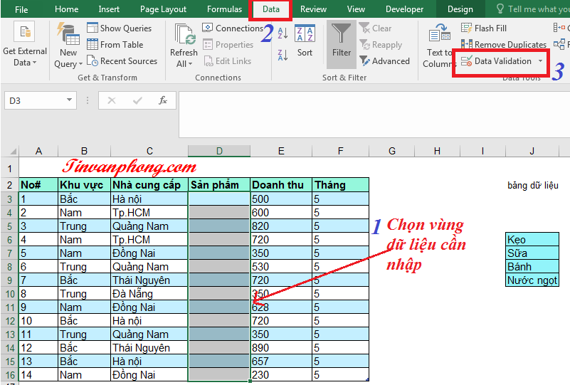 Data Validation trong Excel