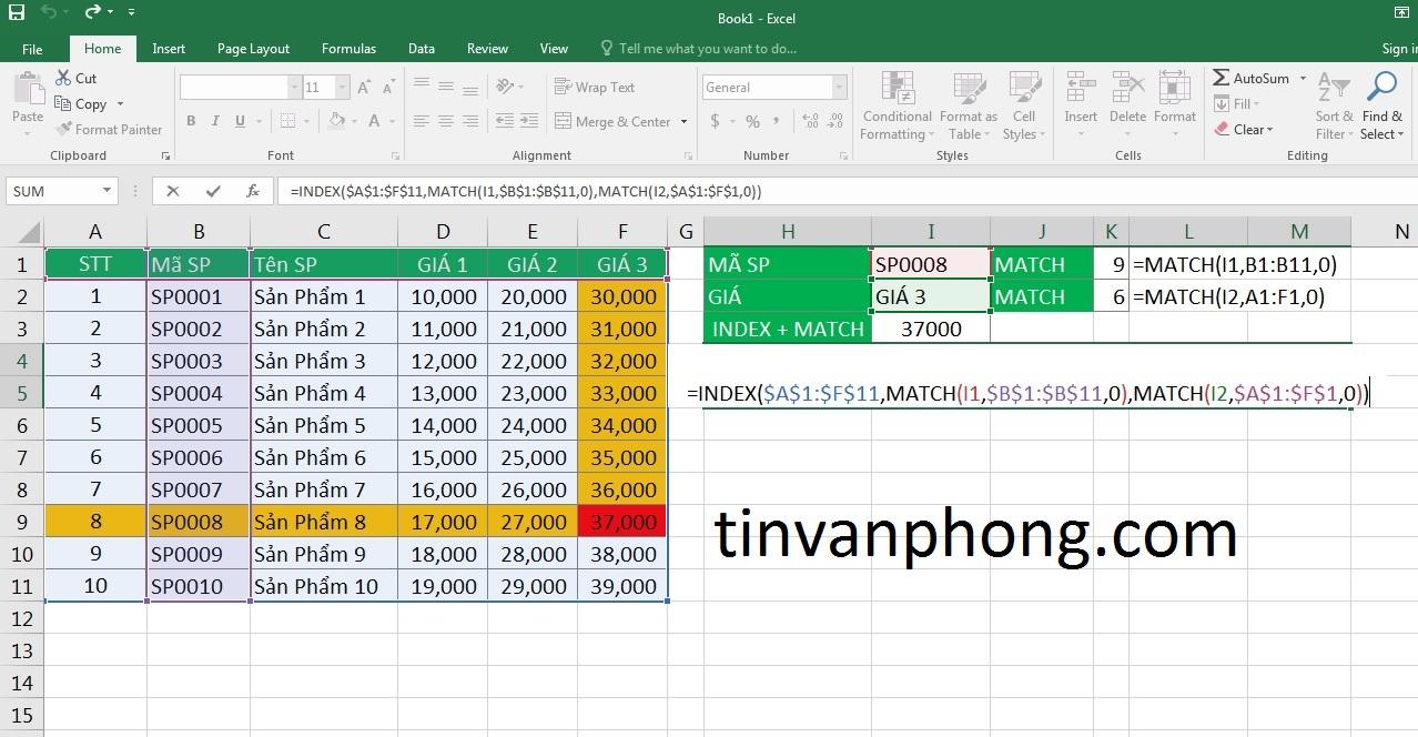 Cách sử dụng hàm INDEX và MATCH trong Excel