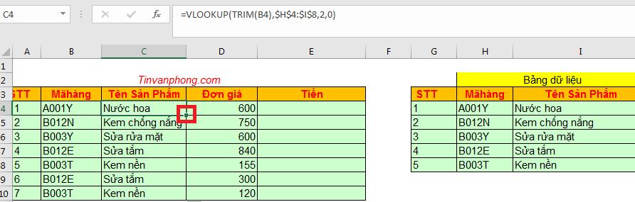 Cách sử dụng hàm Trim trong Excel