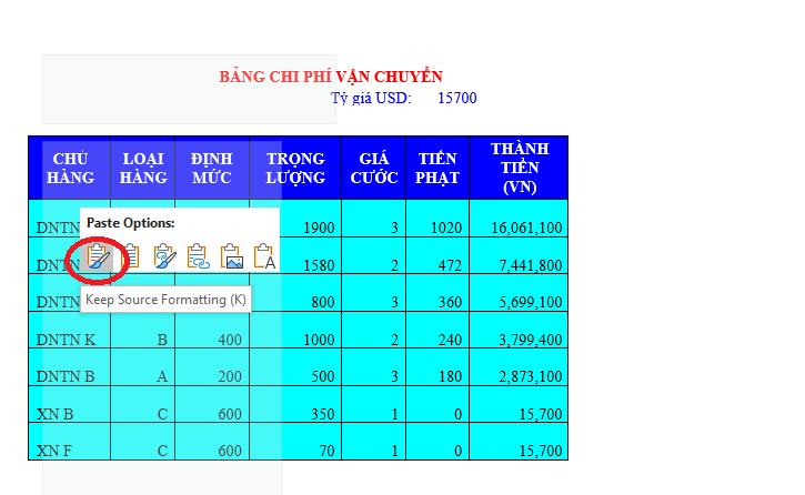 Cách copy dữ liệu từ Excel sang Word