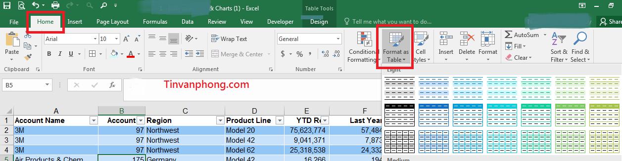 Cách tạo bảng trong Excel