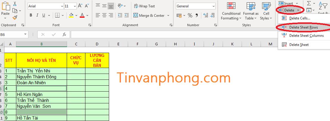Cách xóa dòng trống trong Excel