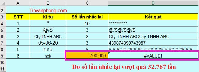Cách sử dụng hàm REPT trong Excel