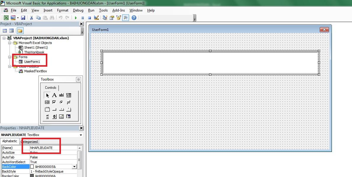 Tạo phạm vi nhập liệu cho Textbox trong VBA