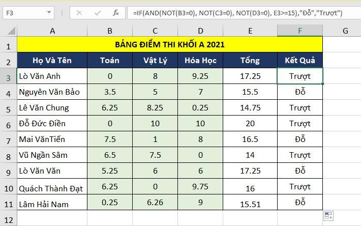 Hàm LOGIC trong Excel
