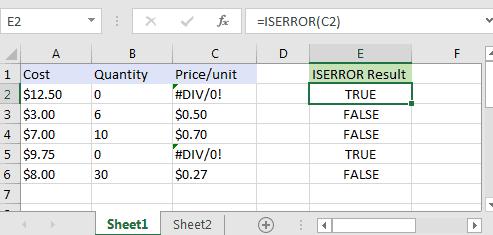 Cách sử dụng hàm iserror trong excel