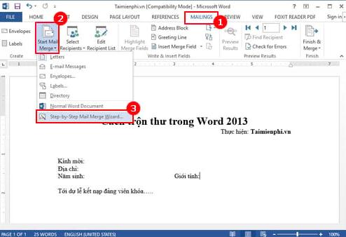 cách trộn thư trong Word 2013