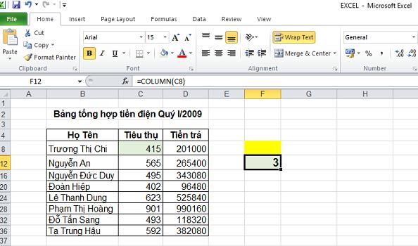 Cách sử dụng hàm Column trong Excel