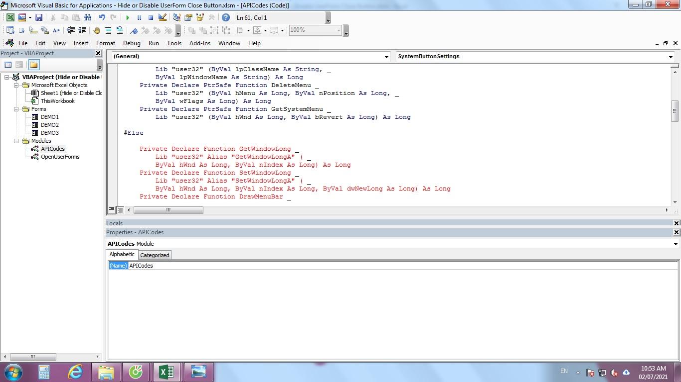 Các điều kiện nút đóng X trong VBA UserForm
