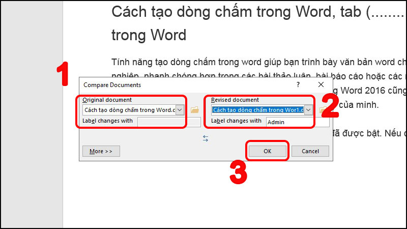 Tùy chọn trong Hộp thoại Compare Documents