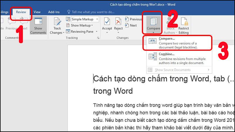 Cách so sánh 2 file văn bản Word đơn giản để tìm sự khác biệt