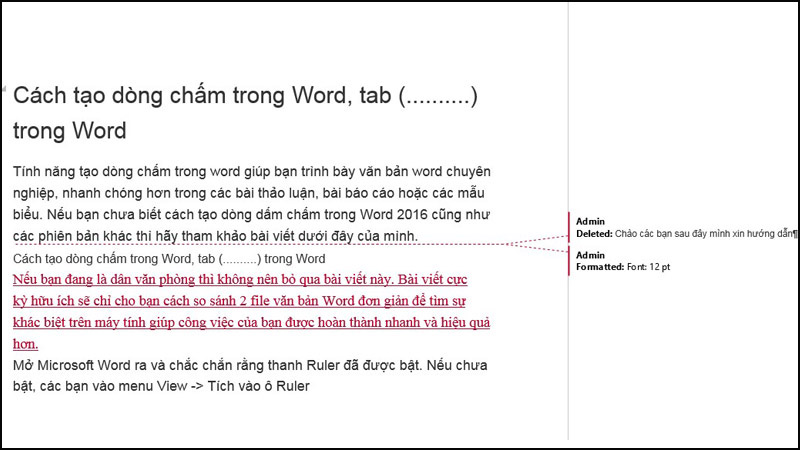 Màn hình hiển thị Cách so sánh 2 file văn bản Word đơn giản để tìm sự khác biệt