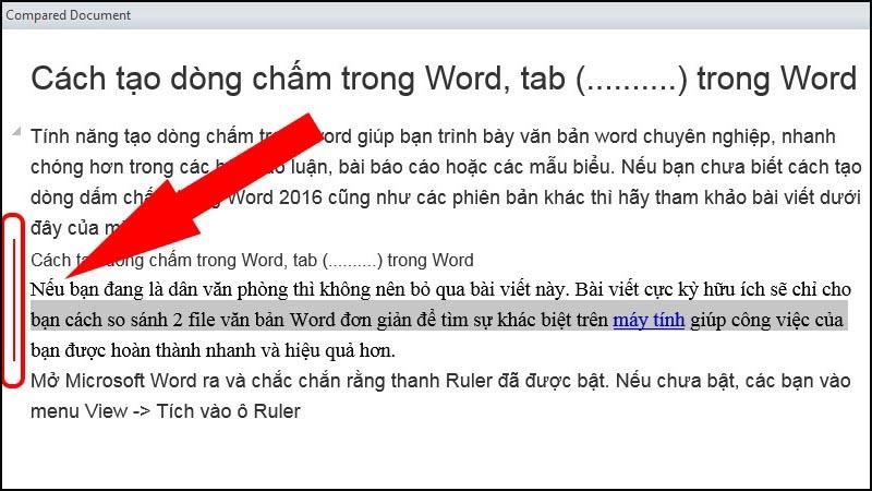 Phần 2: Văn bản đã chỉnh sửa được đánh dấu gạch đỏ lề bên trái của văn bản.