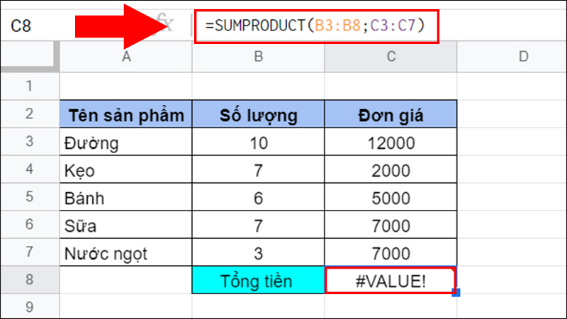Lỗi #VALUE! trong hàm SUMPRODUCT
