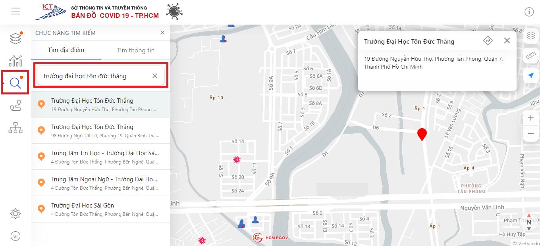 Cách xem bản đồ COVID-19 trực tuyến tại TP.HCM