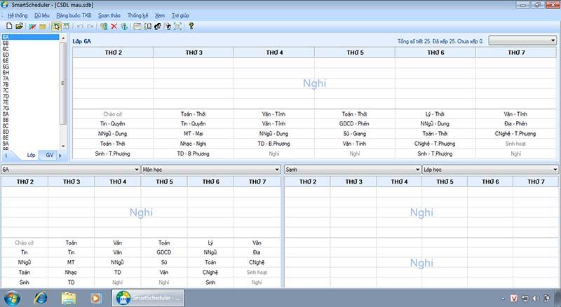 Phần mềm soạn thảo Thời khóa biểu SmartScheduler v4.2