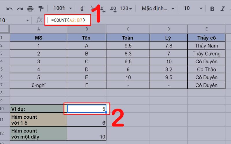 Bài giải ví dụ về hàm COUNT sử dụng hàm COUNT trong Google Sheet