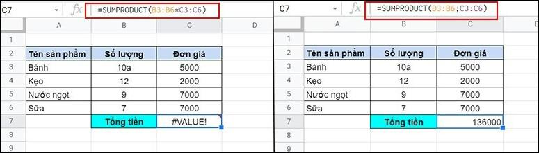 Cách sử dụng hàm SUMPRODUCT trong Google Sheet tính tích tổng