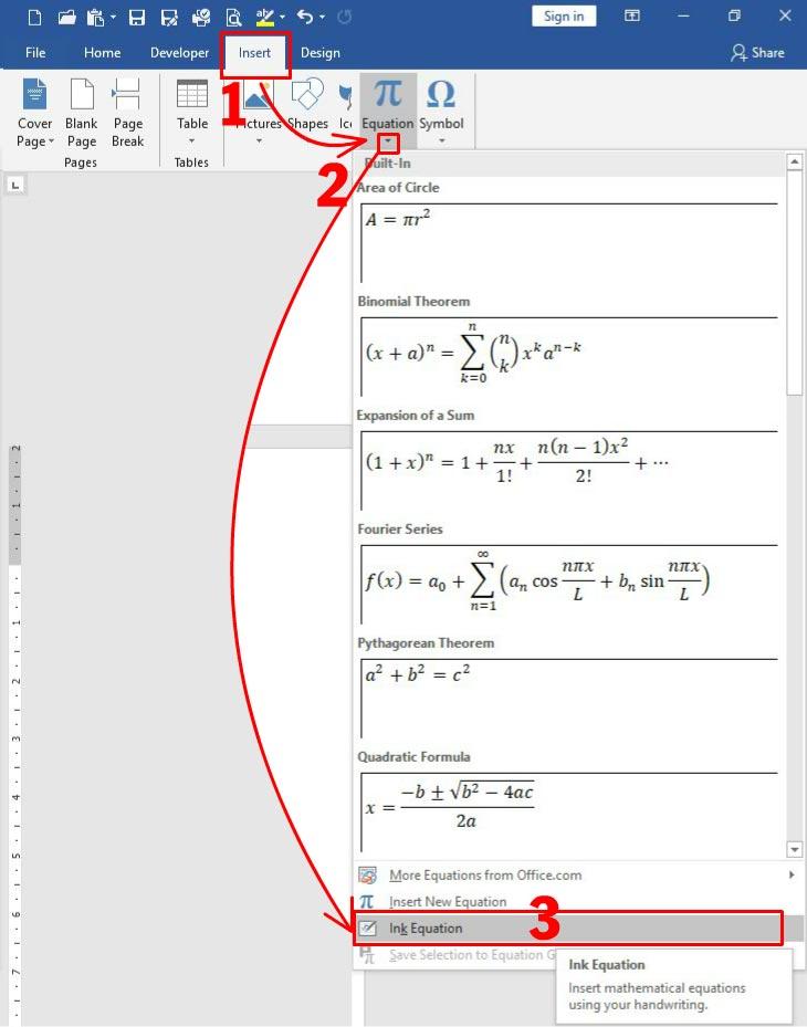 Viết công thức toán học trong Word